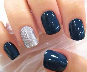 blue, glam, and manicure image