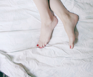beautiful, feet, and bed image