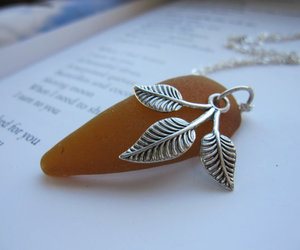 fall jewelry, sea necklace, and leaf pendant image