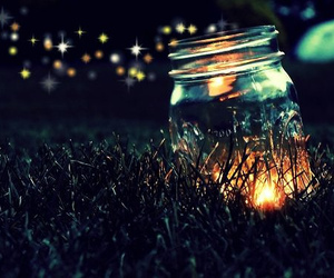 fireflies, night, and jar image