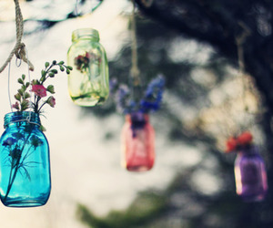 flowers, hanging, and jars image