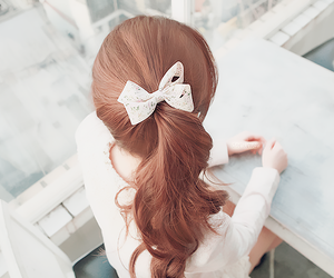hair, korean, and bow image