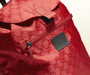 bagpack, red, and gucci viaggio image