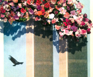 flowers, art, and twin towers image