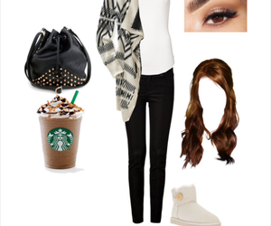 fall, starbucks, and outfit image