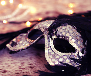bokeh, masque, and feathers image