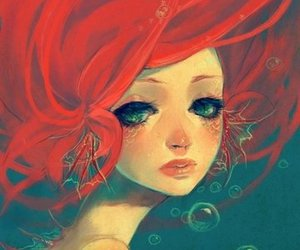 mermaid, art, and ariel image
