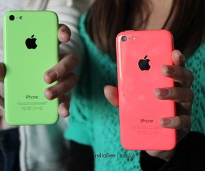 green, pink iphone, and iphone 5c image