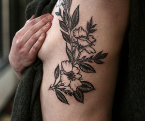 breast, tattoo, and flower image