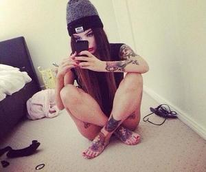 beanie, girl, and Tattoos image