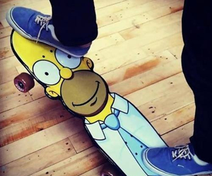 skate, homer, and simpsons image
