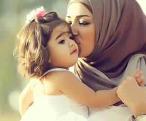 hijab, love, and baby image