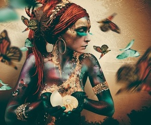 butterfly, woman, and art image
