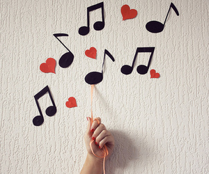 music, heart, and note image