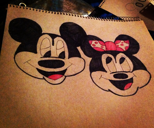 mickey and minnie mouse, drawlings, and love image