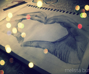 art, drawing, and hand heart image
