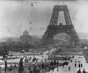 1888, black and white, and eiffel tower image