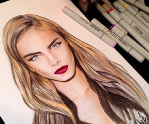 model, cara delevingne, and drawing image