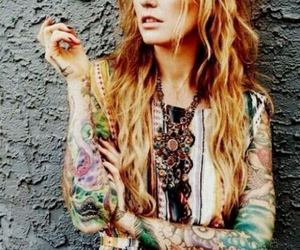 colorsplash, tattoo, and girl image