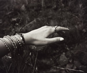 black and white, grunge, and hand image