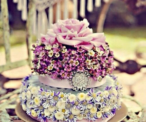 cake, flowers, and love image