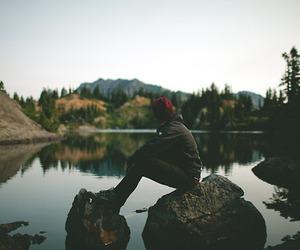 nature, lake, and boy image