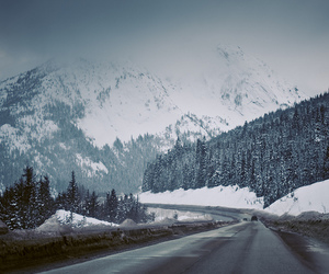mountains, winter, and road image