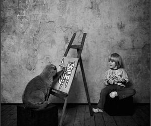 cat and black and white image