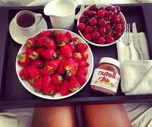 coffe, lunch, and strawberry image