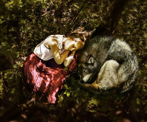 girl, wild, and wolf image