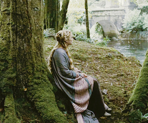 blonde, forest, and girl image