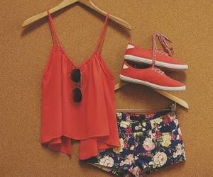 outfit, flowers, and red image