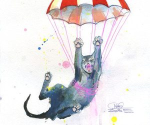 cat, lora zombie, and parachute image