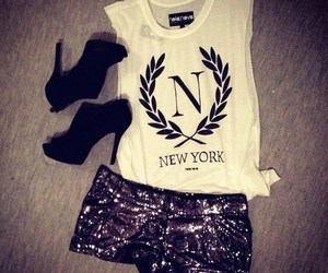 shirt, short, and girly heels image