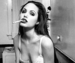 Angelina Jolie, black and white, and beautiful image