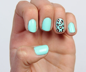 nails, blue, and leopard image