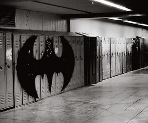 batman, locker, and black and white image