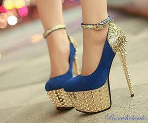shoes, blue, and gold image