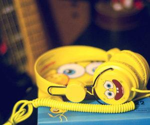 headphones, spongebob, and yellow image