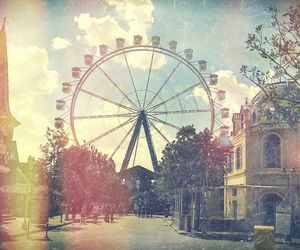 city, ferris wheel, and hipster image