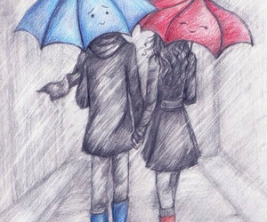 love, blue, and umbrella image