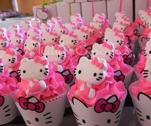 cupcakes, dessert, and hello kitty image