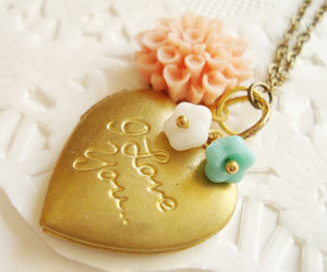 love, necklace, and flowers image