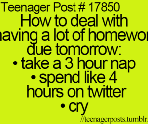 teenager post, cry, and homework image