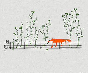 fox, music, and flowers image