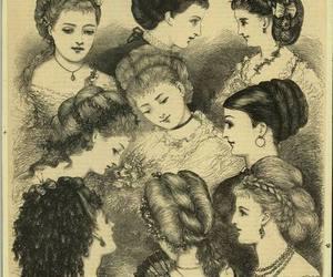 1870s, fashion illustration, and hairdo image