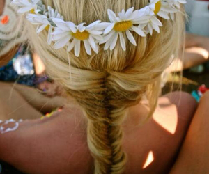 blonde hair, flower crown, and sunflower image
