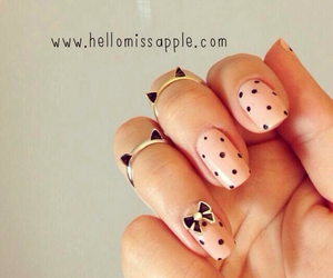black, nails, and polka dots image