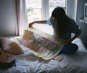 girl, map, and bed image