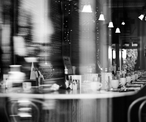 bar, black and white, and monochrome image